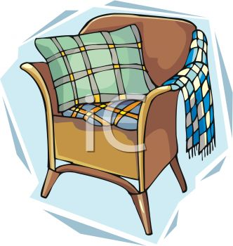 picture of a brown chair with a pillow and blanket in a vector clip art illustration