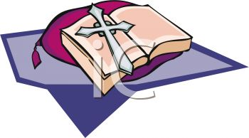 picture of a Cross and a Bible laying on a pillow and cloth in a vector clip art illustration