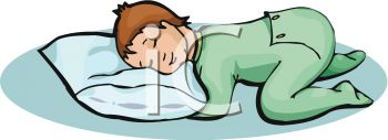 picture of a baby sleeping on the floor laying his head on a pillow in a vector clip art illustration