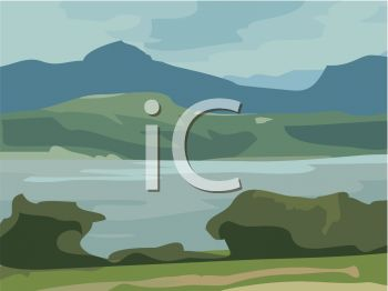 picture of a river surrounded by rocks and hills in a vector clip art illustration