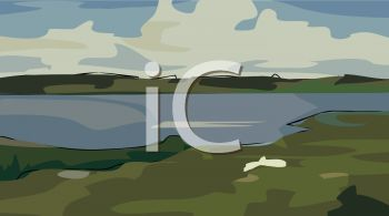 picture of a river and river bank in a vector clip art illustration