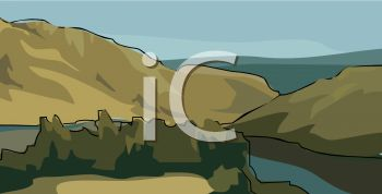 picture of a mountain scenery surrounded by water in a vector clip art illustration