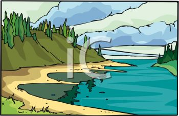 picture of a river flowing through the mountains in a vector clip art illustration