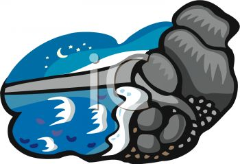 picture of rocks and water in a night scene in a vector clip art illustration