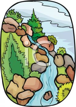 picture of a waterfall with rocks , trees, and greenery in a vector clip art illustration