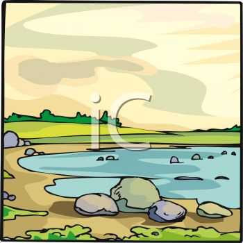 picture of a pond with rocks, sand, and green land in a vector clip art illustration