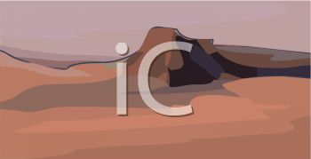 picture of a scenery of hills and rocks in a vector clip art illustration