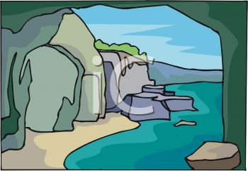 picture of a river running through a cave surrounded by rocks in a vector clip art illustration