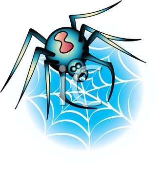 picture of a black widow spider making a web in a vector clip art illustration