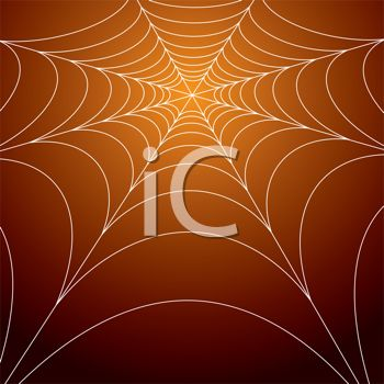 picture of a spider web on an orange background in a vector clip art illustration
