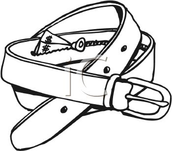 picture of a belt in black and white with a hidden zipper with money in a vector clip art illustration