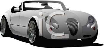 picture of a convertible sports car in a vector clip art illustration