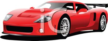 picture of a red sports car on a white background in a vector clip art illustration