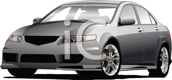 picture of a silver 4 door sedan in a vector clip art illustration