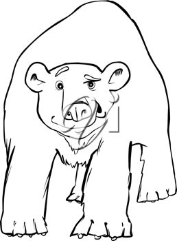 picture of an adult polar bear in black and white in a vector clip art illustration