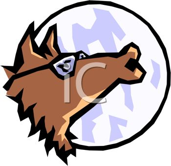 picture of a cartoon wolf wearing sunglasses howling at the moon in a vector clip art illustration