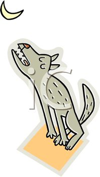 picture of a cartoon wolf sitting down howling at the moon in a vector clip art illustration