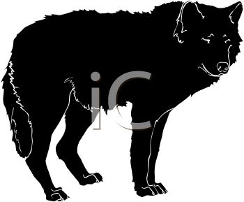 picture of a silhouette of a wolf standing in a vector clip art illustration