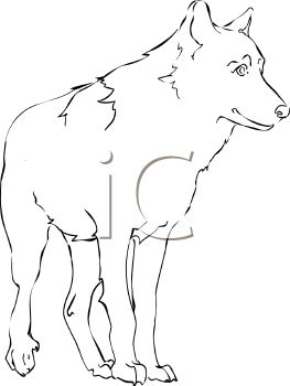 picture of an outline of a wolf standing up in a vector clip art illustration