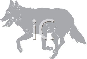 picture of a silhouette of a wolf running in a vector clip art illustration