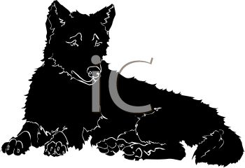 picture of a silhouette of a wolf laying down in a vector clip art illustration