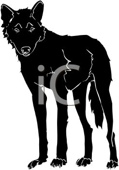 picture of a silhouette of a wolf standing up in a vector clip art illustration