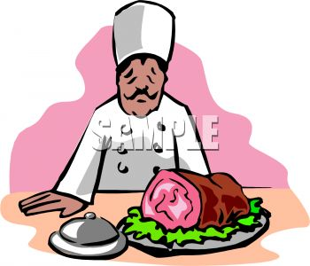 picture of a chef admiring a ham he cooked in a vector clip art illustration