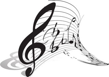 Picture of a treble clef piece of music with an abstract staff in a vector clip art illustration