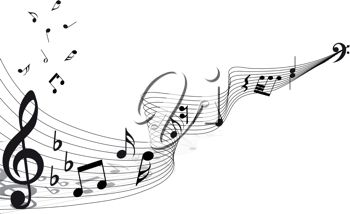 picture of a music notes on an abstract staff in a vector clip art illustration
