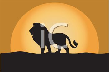 picture of a silhouette of a lion walking on a hill with the sun setting in a vector clip art illustration