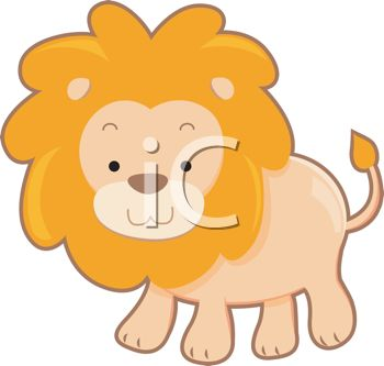 picture of a cartoon lion on a white background in a vector clip art illustration