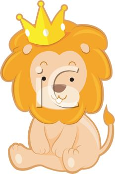 picture of a lion cub sitting down wearing a crown in a vector clip art illustration