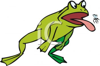 picture of a funny cartoon frog leaping into the air catching a fly on his tongue in a vector clip art illustration