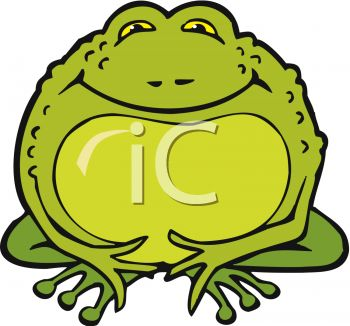 picture of a fat cartoon toad in a vector clip art illustration