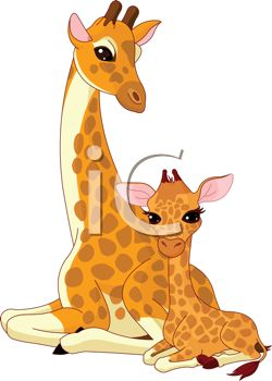 picture of a mother and her baby giraffe sitting down in a vector clip art illustration