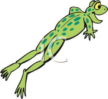 picture of a frog leaping through the air with a happy look on his face in a vector clip art illustration