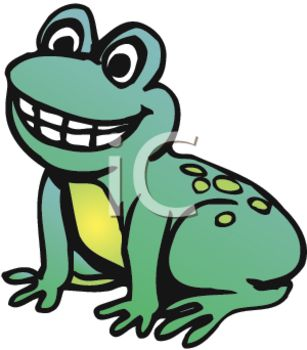picture of a cute young frog sitting down smiling in a vector clip art illustration