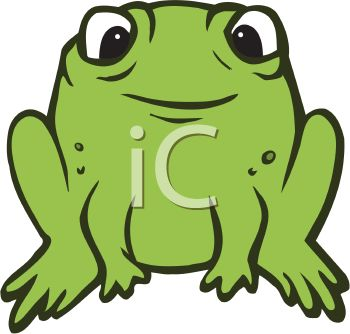 picture of a cute frog sitting in a vector clip art illustration