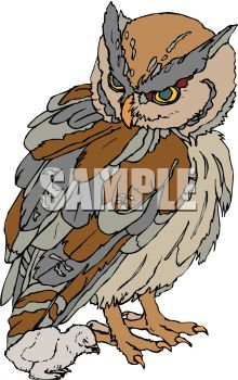 picture of a Mother owl standing and looking down at her baby in a vector clip art illustration