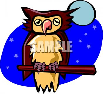 picture of a cartoon owl sitting on a perch in the moonlight in a vector clip art illustration