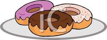 picture of an assortment of frosted donuts on a plate in a vector clip art illustration