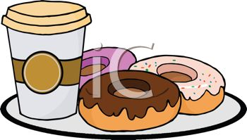picture of frosted donuts and coffee on a plate in a vector clip rh clipartguide com donuts clip art free clipart donuts and coffee