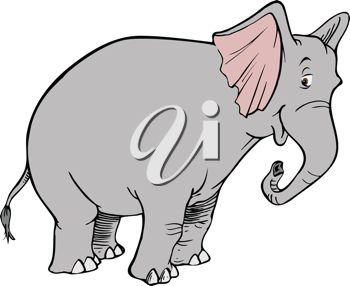 picture of a cute cartoon elephant with a funny face in a vector clip art illustration