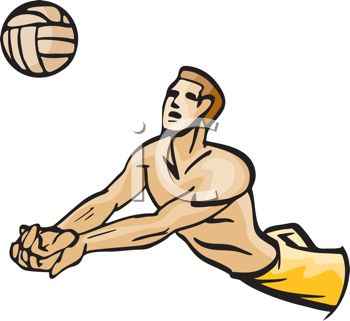 picture of a man diving to hit a volleyball in a vector clip art illustration