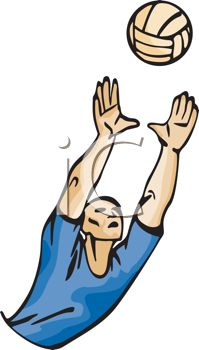 picture of a man reaching to hit back a volleyball in a vector clip art illustration