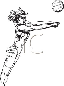 picture of a woman jumping to hit a volleyball in a vector clip art illustration