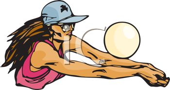 picture of a woman hitting a volleyball in a vector clip art illustration