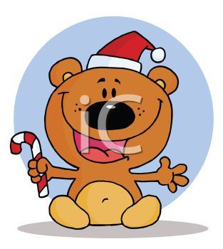 picture of a happy cartoon bear sitting down wearing a santa hat and holding a candy cane in a vector clip art illustration