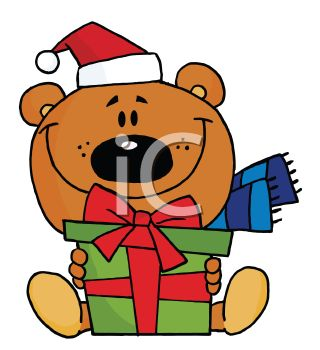 picture of a cartoon bear sitting down holding a gift in a vector clip art illustration