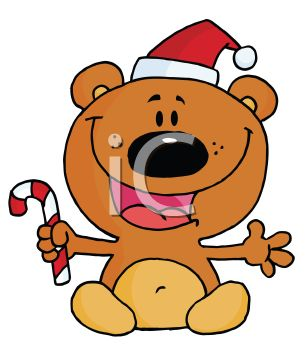 picture of a happy cartoon bear sitting down wearing a santa hat and holding  candy cane in a vector clip art illustration